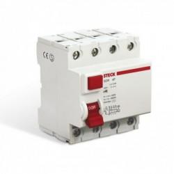 Disjuntor DR Fuga STECK Tetrapolar 100A SDR- 4100/0.03