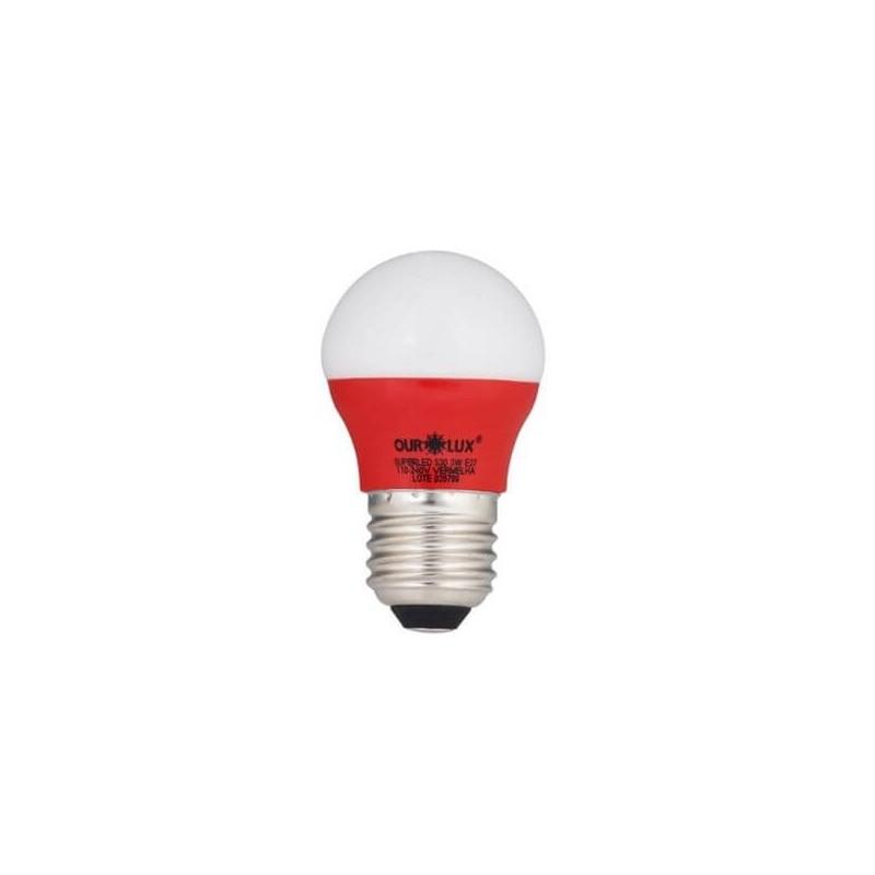 Lâmpada LED Bolinha OUROLUX Bulbo 3W Vermelho